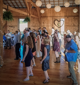 Photo of Dance Floor from Wedding DJ Booth at Airville, PA Barn Wedding