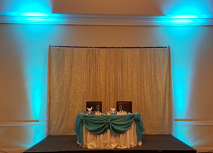 Summer Wedding at Sheraton Hotel Harrisburg/Hershey with light Blue Uplighting