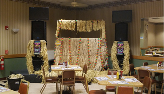 Tiki Bar Booth Set Up for Theme Party