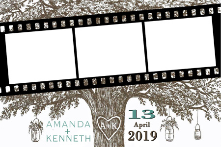 Photo Booth Print with brown tree, names, and date